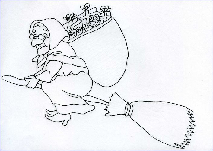 Free coloring pages of befana for La befana coloring page