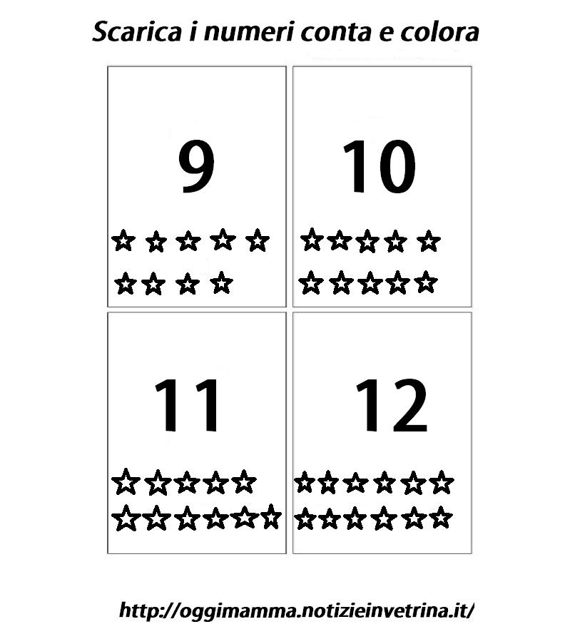 Amato Numeri da 1 a 12 scarica ritaglia conta e colora le carte - Oggi  RR36
