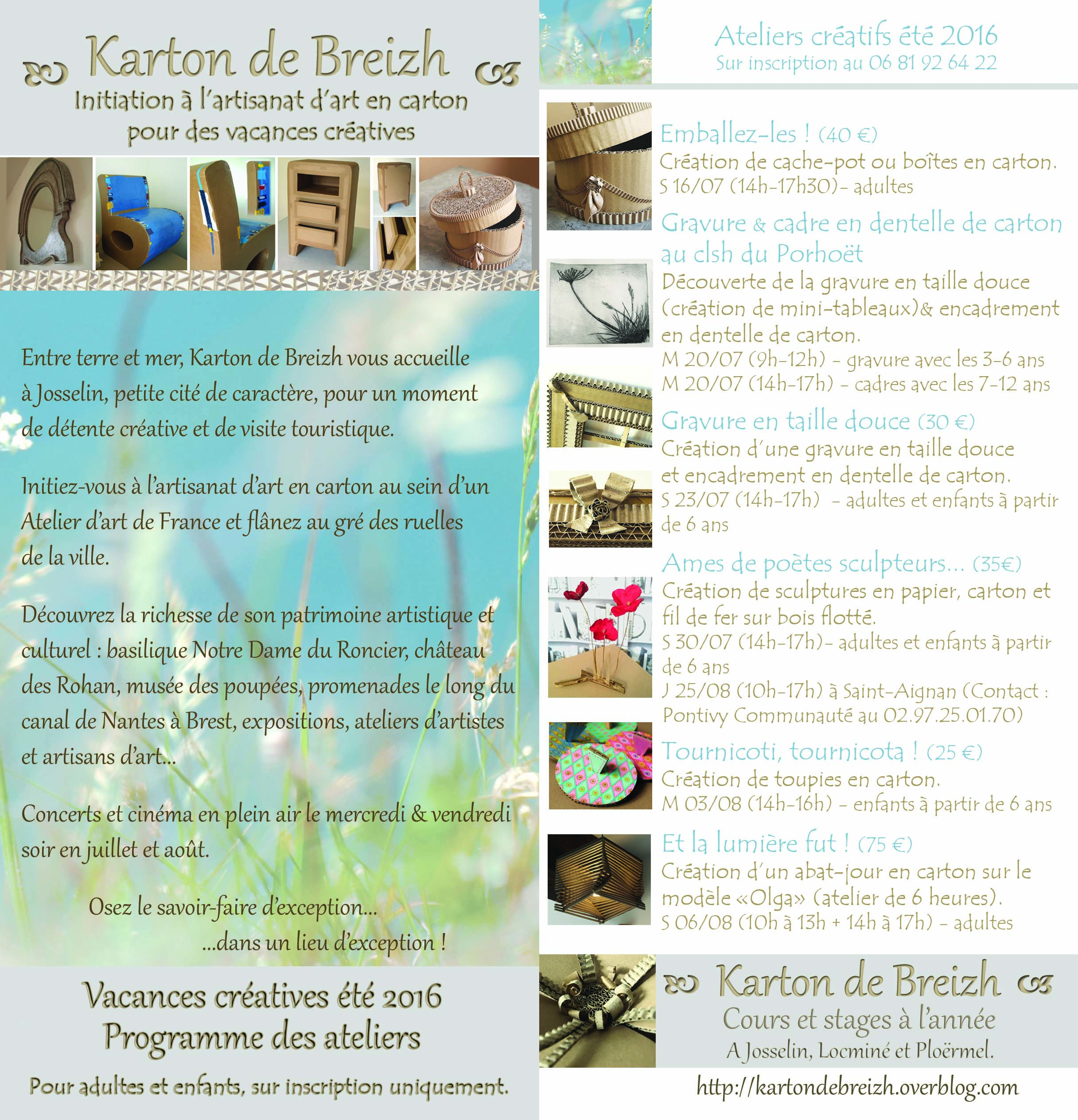 programme des ateliers cr atifs t 2016 avec karton de breizh josselin karton de breizh. Black Bedroom Furniture Sets. Home Design Ideas