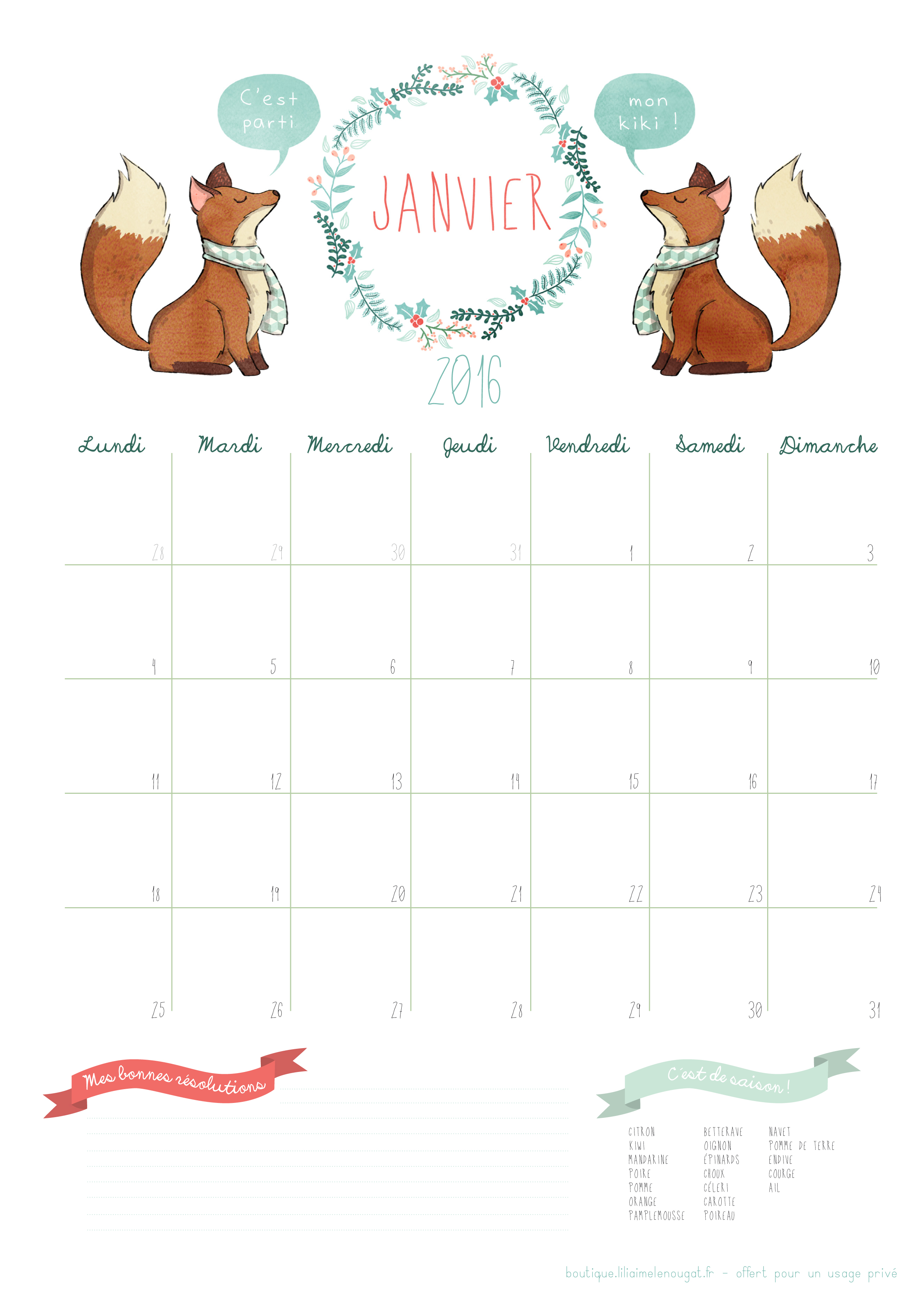 Calendrier 2016 - janvier - free printable - Liliaimelenougat - blog ...