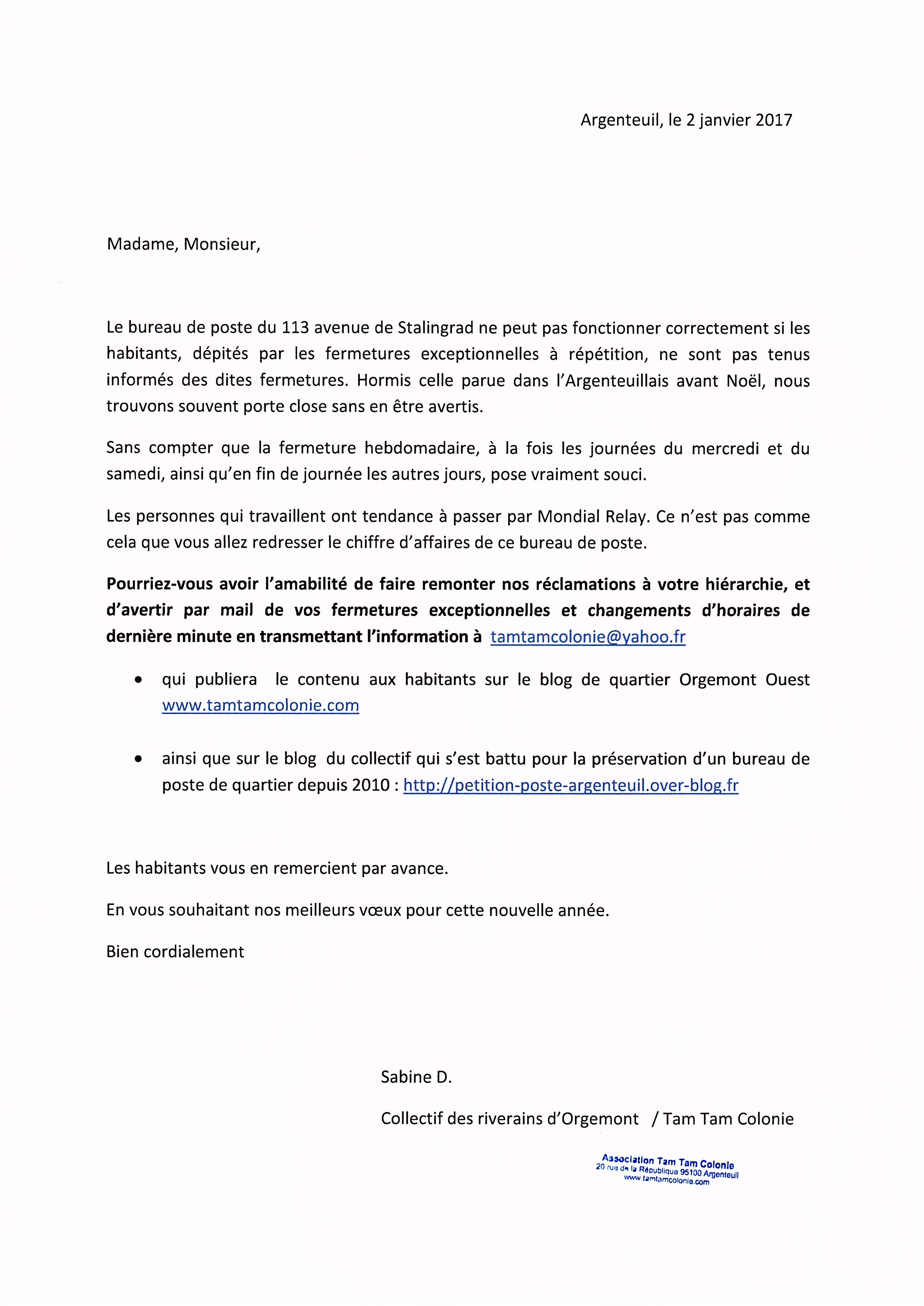 Courrier remis la poste et au maire le blog du collectif riverains argent - Reclamation reexpedition courrier ...